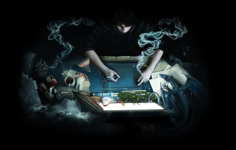 Фото обои компьютер, бумага, фантазия, дракон, дым, кофе, пиво, антенна, мышь, сигарета, дирижабль, кружка, листы, банка, планшет, …