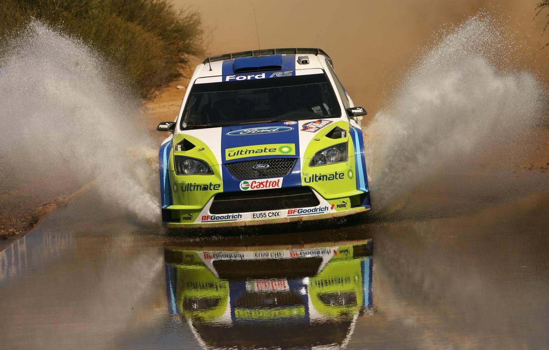 Фото обои вода, брызги, rally, wrc, ford focus