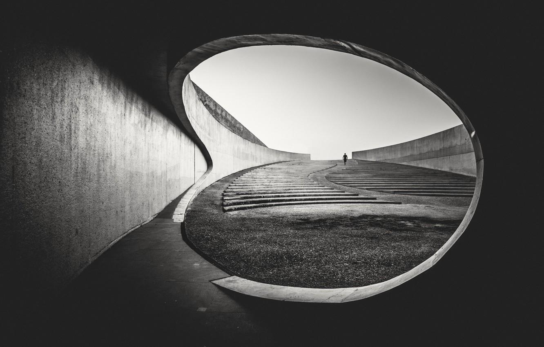 Фото обои architecture, person, stairs, concrete