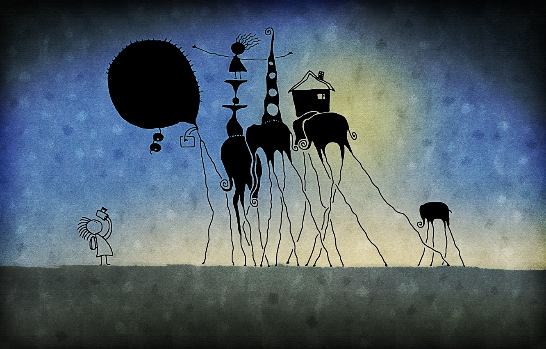 Фото обои радость, фантастика, игра, слон