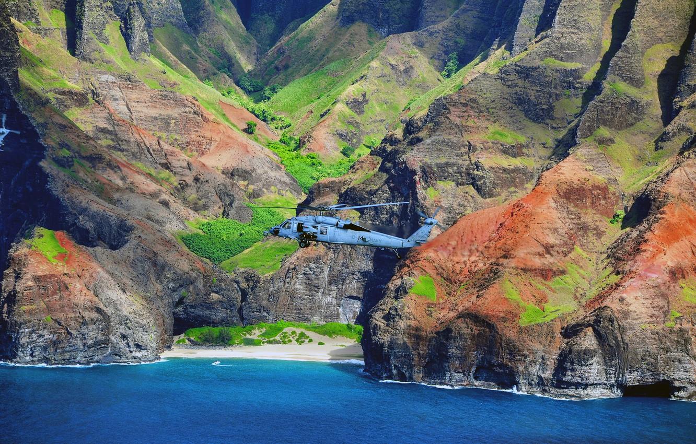 Фото обои полет, пейзаж, вертолёт, военно-транспортный, Seahawk, MH-60S
