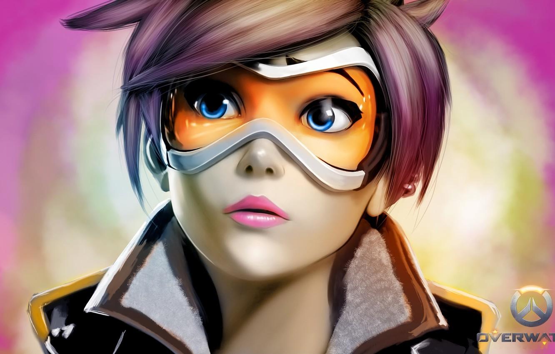 Фото обои девушка, лицо, очки, blizzard, art, tracer, overwatch, lana oxton