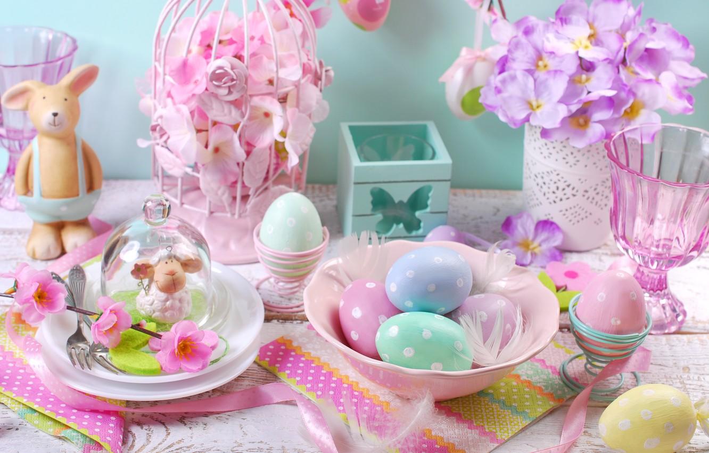 Фото обои цветы, яйца, весна, Пасха, flowers, spring, Easter, eggs, decoration, Happy