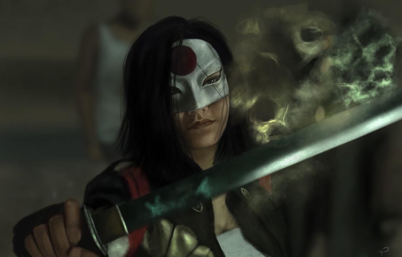 Фото обои девушка, меч, маска, art, Katana, Suicide Squad, Отряд самоубийц, Karen Fukuhara