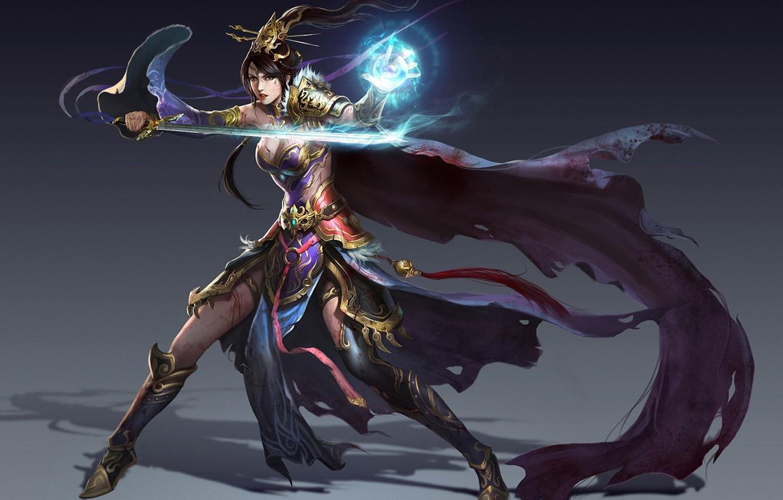 Фото обои девушка, фон, магия, меч, фэнтези, арт, маг, плащ