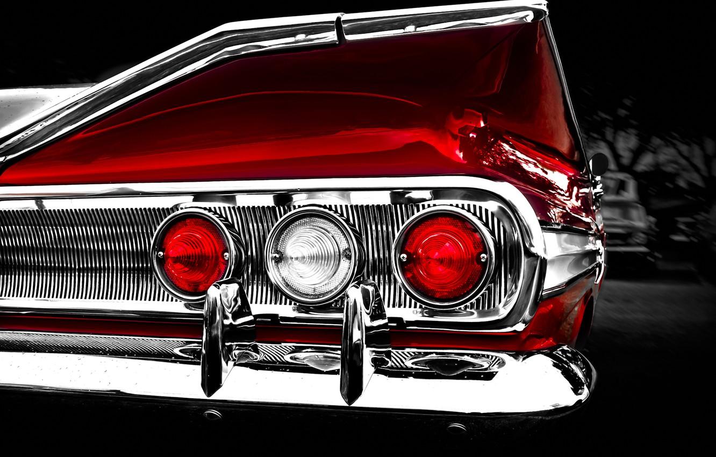 Фото обои ретро, отражение, фон, фары, Chevrolet, 1960, Шевроле, классика, impala, задние огни, хромированные детали