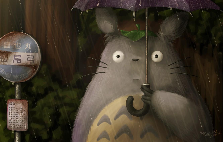 Фото обои дождь, Хаяо Миядзаки, Мой сосед Тоторо, art, тоторо, fraffrog