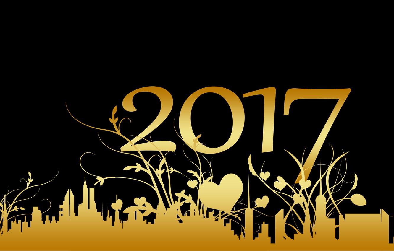 Фото обои ночь, желтый, город, фон, праздник, узор, черный, графика, здания, новый год, вектор, растения, цифры, сердечки, ...