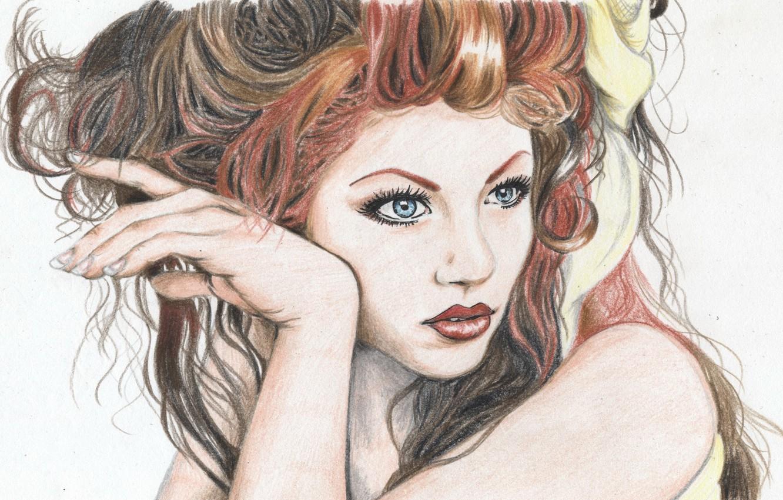 Фото обои глаза, взгляд, девушка, лицо, волосы, рука, макияж, прическа, губы, красные, живопись, кудри, плечо