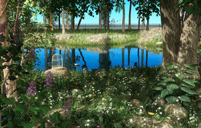 Фото обои зелень, пейзаж, пруд, растения, клетка, сад, арт