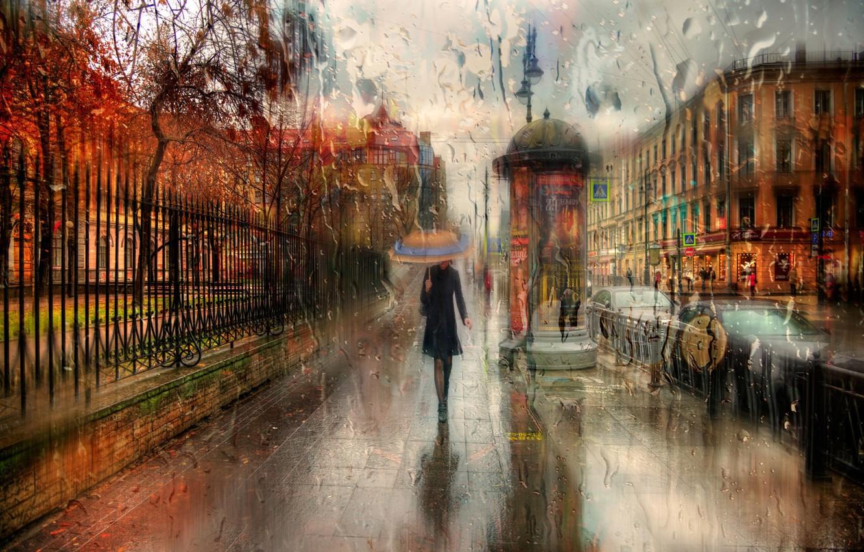 Обои зонт, капли, россия, дождь. Города foto 7