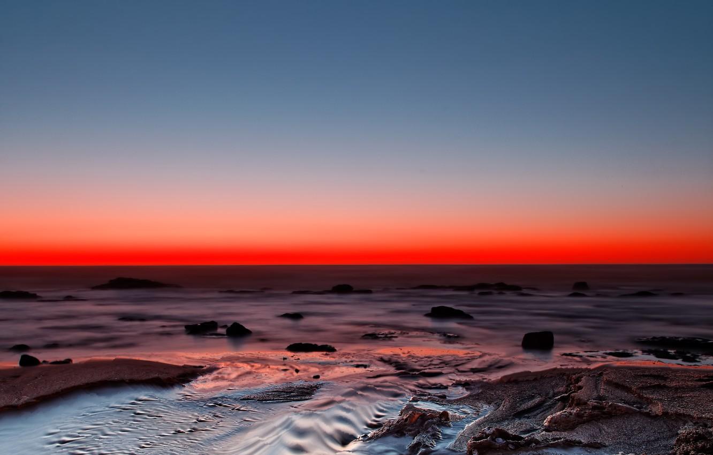 Фото обои океан, берег, сумерки