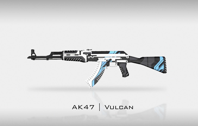 Фото обои Фон, Оружие, Gun, Valve, AK-47, Counter Strike, Steam, Skin, Weapon, CS:GO, Global Offensive, Vulcan, Workshop
