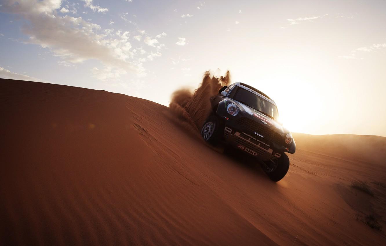 Фото обои Солнце, Песок, Авто, Mini, Черный, Спорт, Свет, Гонка, Mini Cooper, Dakar, Внедорожник, Ралли, Мини, 2014, …
