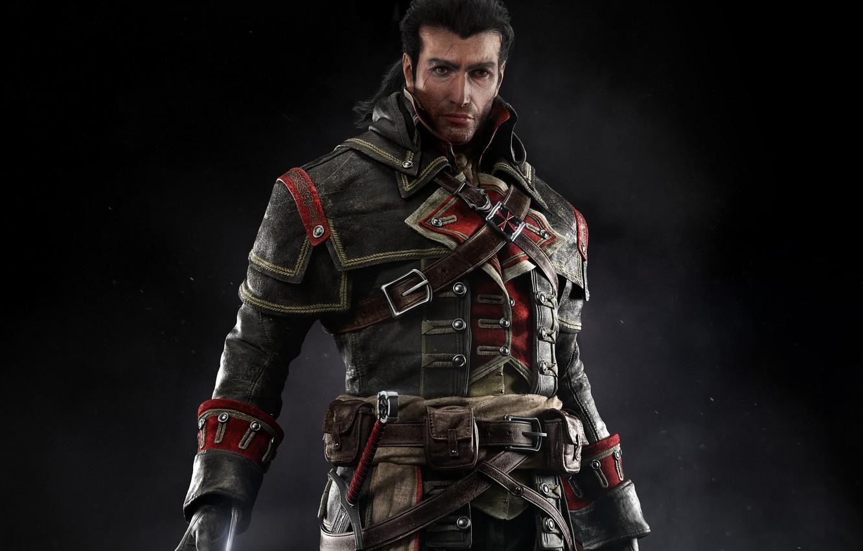 Фото обои взгляд, знак, меч, костюм, пояс, Тамплиер, шрам, убийца, Шэй Патрик Кормак, Assassins Creed: Rogue
