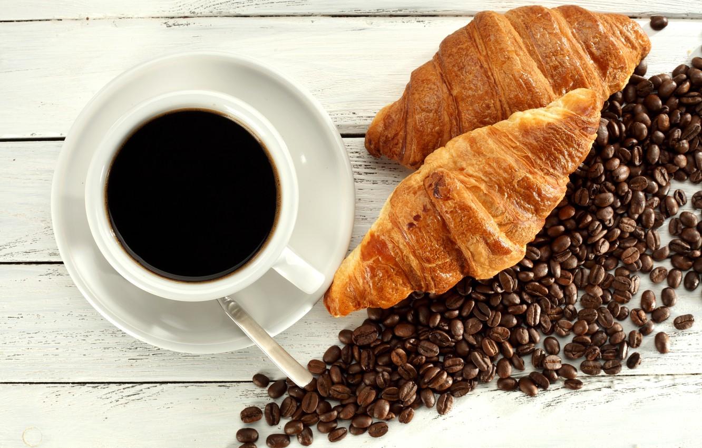 Фото обои кофе, кофейные зерна, булочки