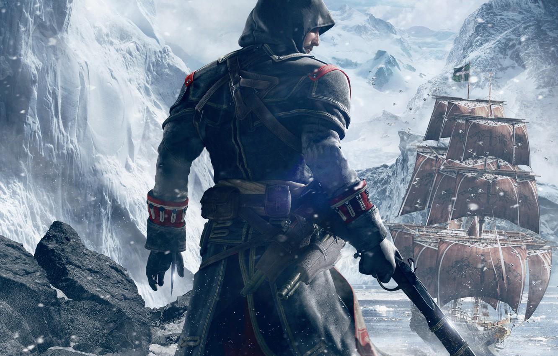 Фото обои снег, горы, оружие, спина, корабль, лёд, капюшон, Тамплиер, паруса, убийца, Ubisoft, клинок, пистоль, Шэй Патрик …