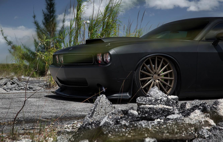 Обои Dodge challenger, передок, чёрный, матовый, car. Автомобили foto 9