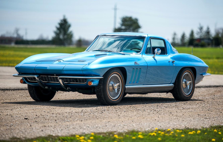 Фото обои Corvette, Chevrolet, Ретро, Голубой, Автомобиль, Coupe, 1966, Sport, L30, StingRay