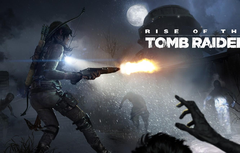 Фото обои холод, небо, девушка, снег, оружие, луна, выстрел, лого, logo, сражение, Лара Крофт, Square Enix, DLC, …