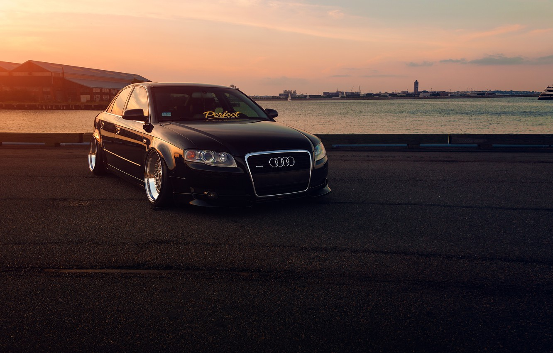 Фото обои Audi, Front, Black, Sunset, Stance, Slammed, Vehicle