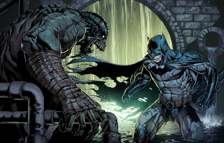 Фото обои batman, DC Comics, arkham, bruce wayne, Killer Croc