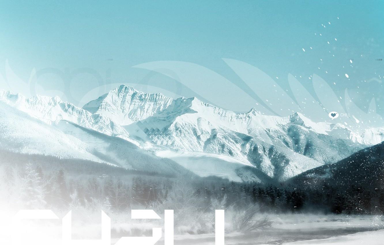 Фото обои холод, зима, снег, любовь, пейзаж, горы, природа, туман