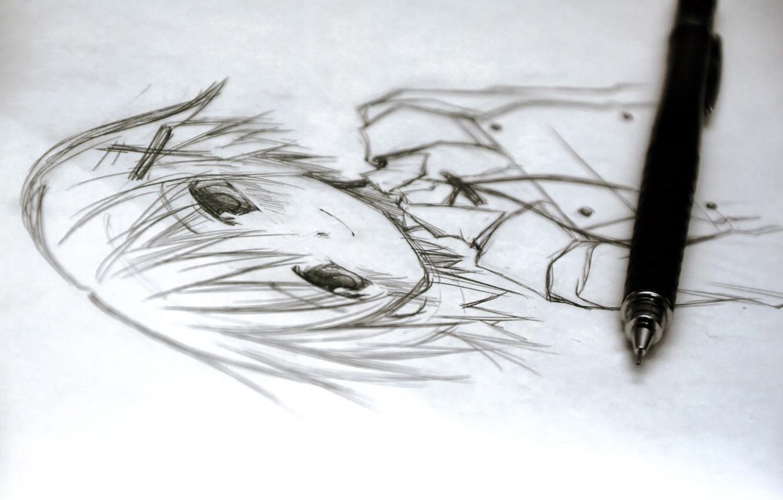 Фото обои рисунок, карандашный рисунок, yuno, hidamari sketch
