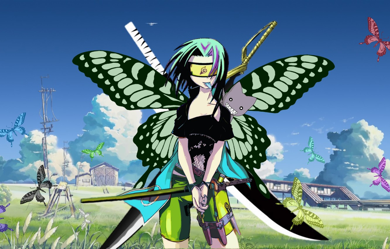 Фото обои трава, девушка, облака, бабочки, природа, дома, аниме, арт, ножи, мечи, Bleach, Naruto, катаны, Haruno Sakura, …