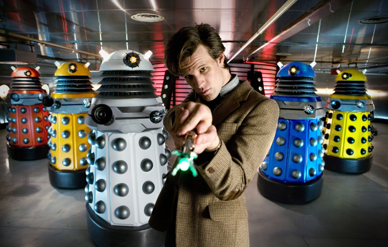 Фото обои сериал, Мэтт Смит, Доктор Кто, Matt Smith, Daleks, Doctor Who, Далеки