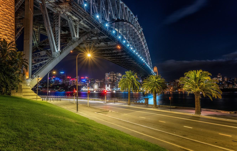 Фото обои дорога, ночь, мост, огни, река, пальмы, сидней, австралия