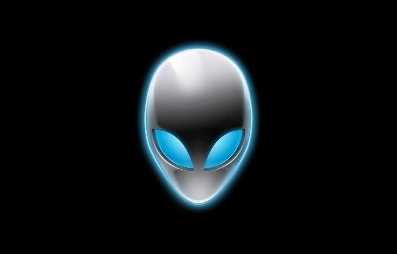 Фото обои логотип, инопланетянин, чёрный фон, Alienware, голова пришельца