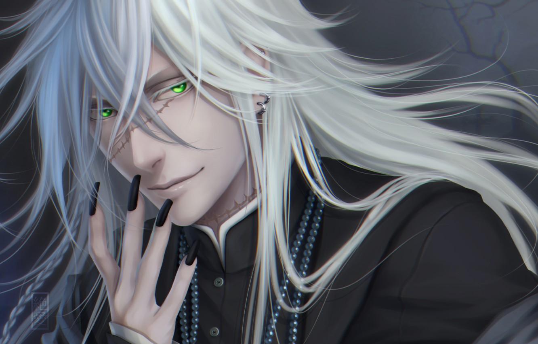 Фото обои взгляд, улыбка, парень, серьга, art, Zetsuai89, шрамы, Black Butler, undertaker