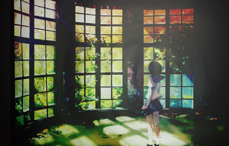 Фото обои лучи, свет, спина, окна, растения, Школьница, веранда, матроска