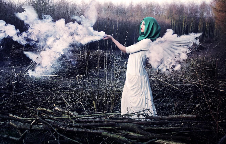 Фото обои девушка, птицы, ангел