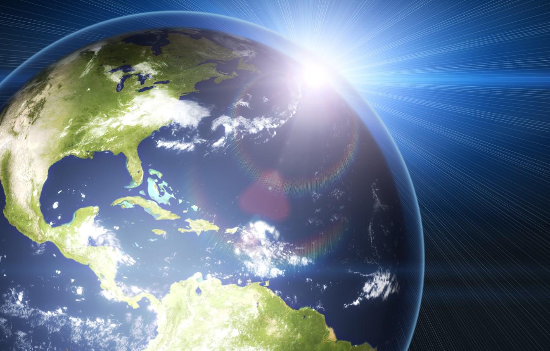 Фото обои космос, лучи, свет, сияние, земля, планета
