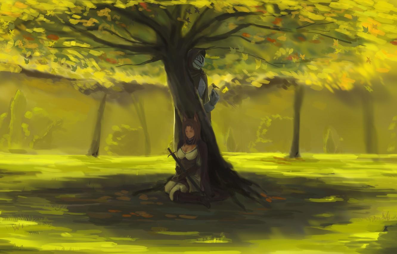 Фото обои девушка, пейзаж, природа, оружие, дерево, птица, меч, аниме, воин, арт, двое