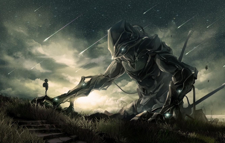 Фото обои небо, звезды, ночь, робот, мальчик, арт, mauve, noeyebrow