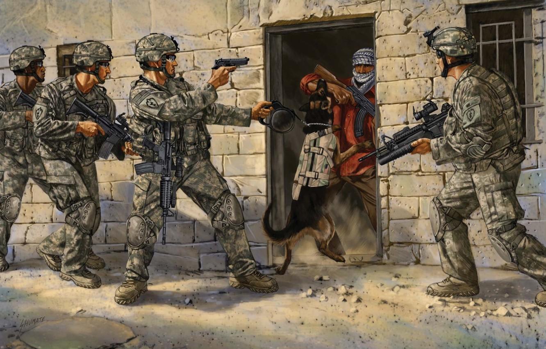 Фото обои оружие, рисунок, собака, арт, солдаты, захват, боевик, экипировка, операция, спецназ