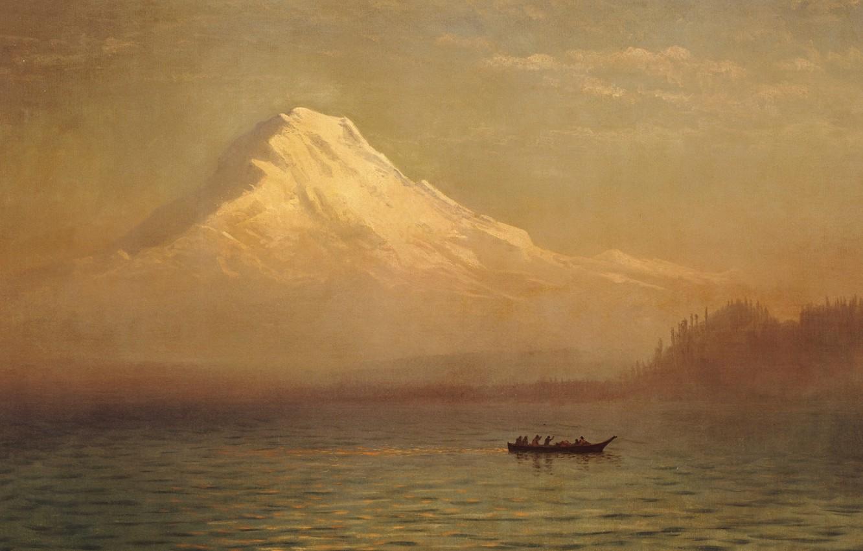 Фото обои пейзаж, озеро, лодка, картина, Альберт Бирштадт, Восход на Горе Такома