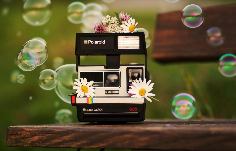 Фото обои пузыри, фон, Polaroid