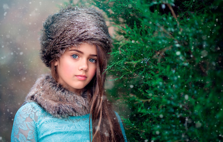 Обои шапка, елка, сероглазая, Девочка. Разное foto 13