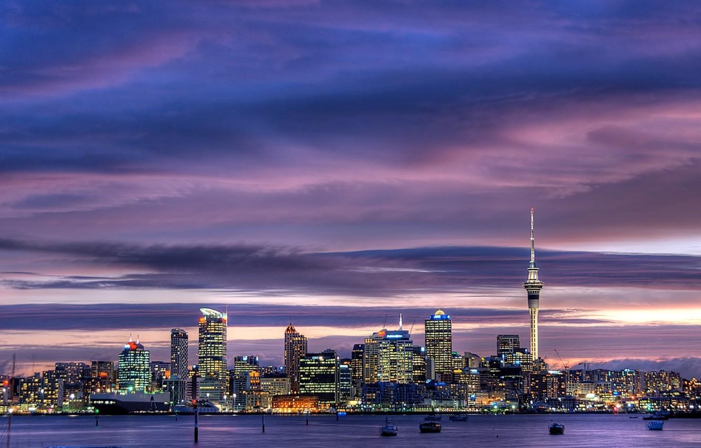 Обои окленд, Вечер, огни, Новая Зеландия. Города foto 13