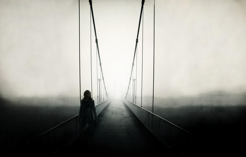 Фото обои дорога, пейзаж, мост, туман, люди, настроение, забор, человек, вид, ограда, дорожка, поручни, мужчина, парень, мостик, …