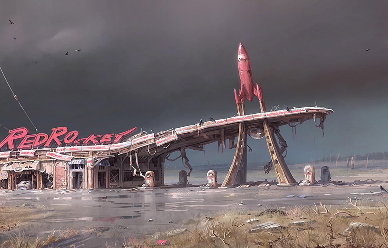 Фото обои деревья, пустошь, постапокалипсис, art, concept art, бензоколонка, Bethesda, Fallout 4, postapocalypse