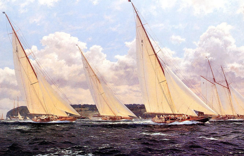 Фото обои море, волны, небо, тучи, парусник, картина, яхты, регата, J. Steven Dews