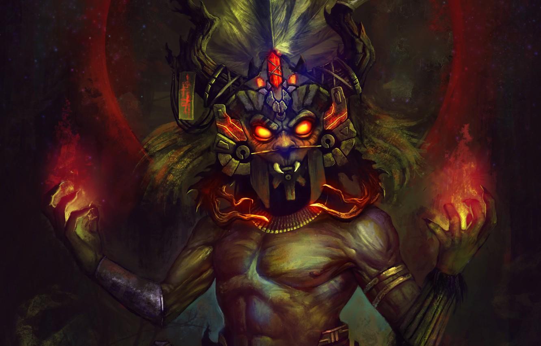 Фото обои Blizzard, Art, Diablo 3, Diablo III, Background, Blizzard Entertainment, Witch Doctor, Mask, Video Game, Reaper …