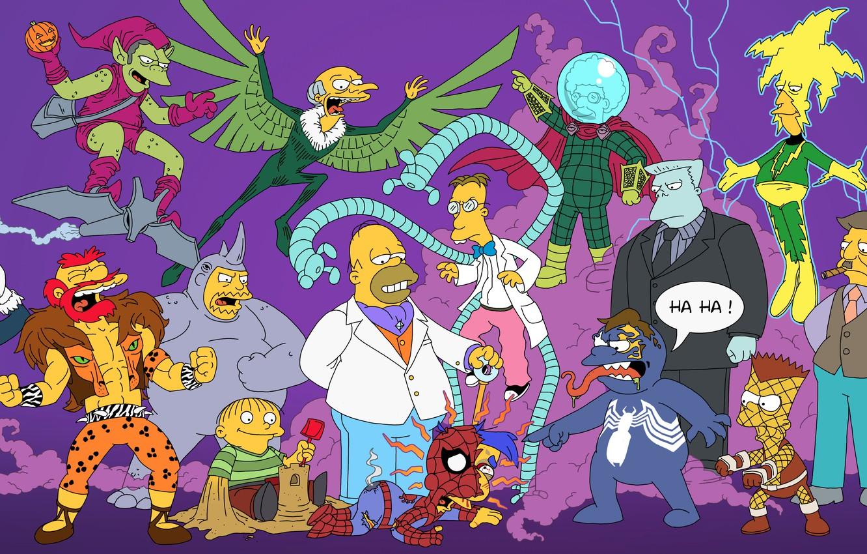 Фото обои Симпсоны, Simpsons, Superheroes, The Simpsons, Spider-Man, Человек-Паук, Супергерои