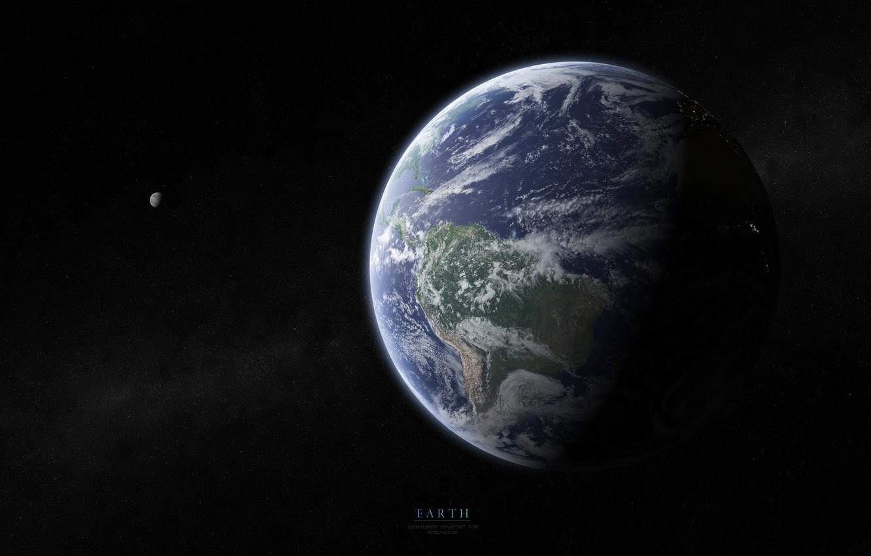 Фото обои земля, луна, звёзды, атмосфера, солнечная система, океаны, южная америка