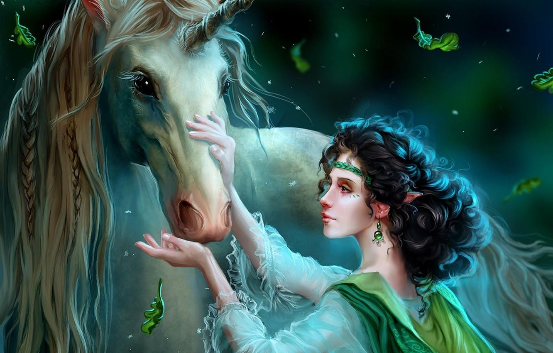 Фото обои девушка, украшения, ночь, волшебство, эльф, сказка, фэнтези, арт, единорог, fantasy, art, Fairytale, elf, Wild dreamer, …